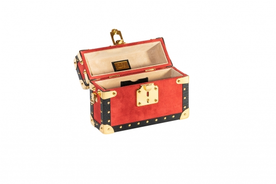 Mini Bauletto Glam (Red Suede) Gold